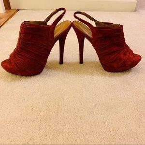 Elie tahari burgundy suede heels